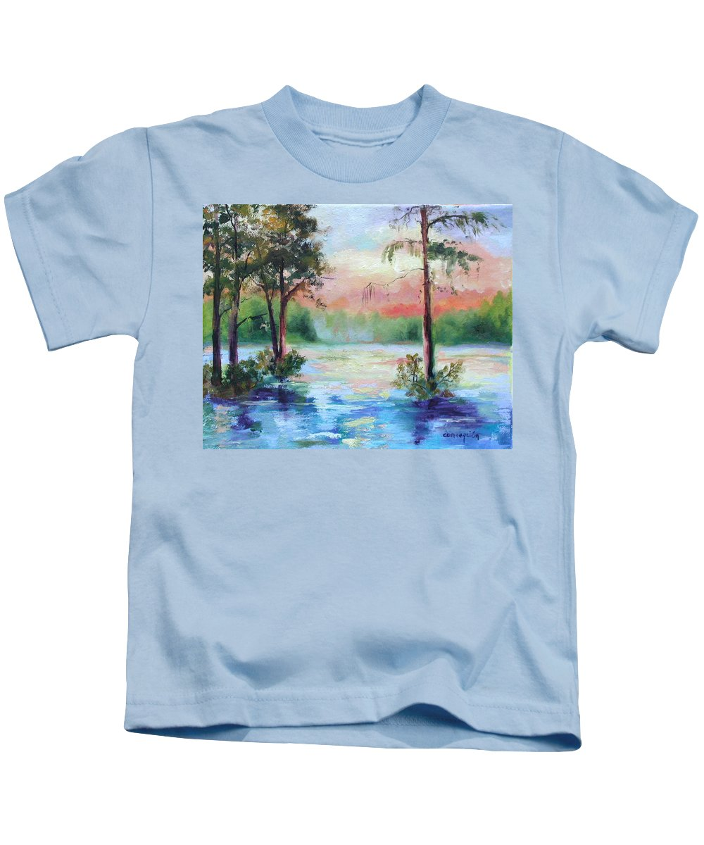 Sunset Kids T-Shirt featuring the painting Sunset Bayou by Ginger Concepcion