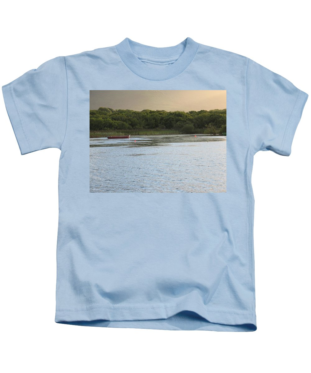 Boat Kids T-Shirt featuring the photograph Sunset Over Killarney by Kelly Mezzapelle