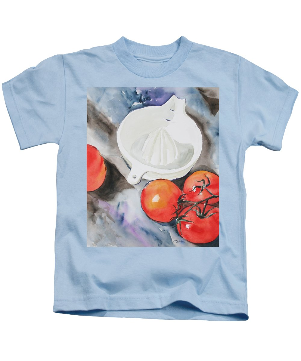 Tomatoes Kids T-Shirt featuring the painting Sunshine On The Vine by Jean Blackmer