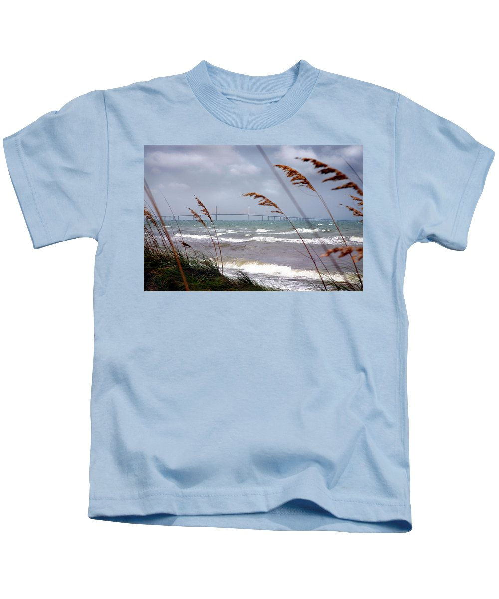 Sunshine Kids T-Shirt featuring the photograph Sunshine Skyway Bridge Viewed From Fort De Soto Park by Mal Bray