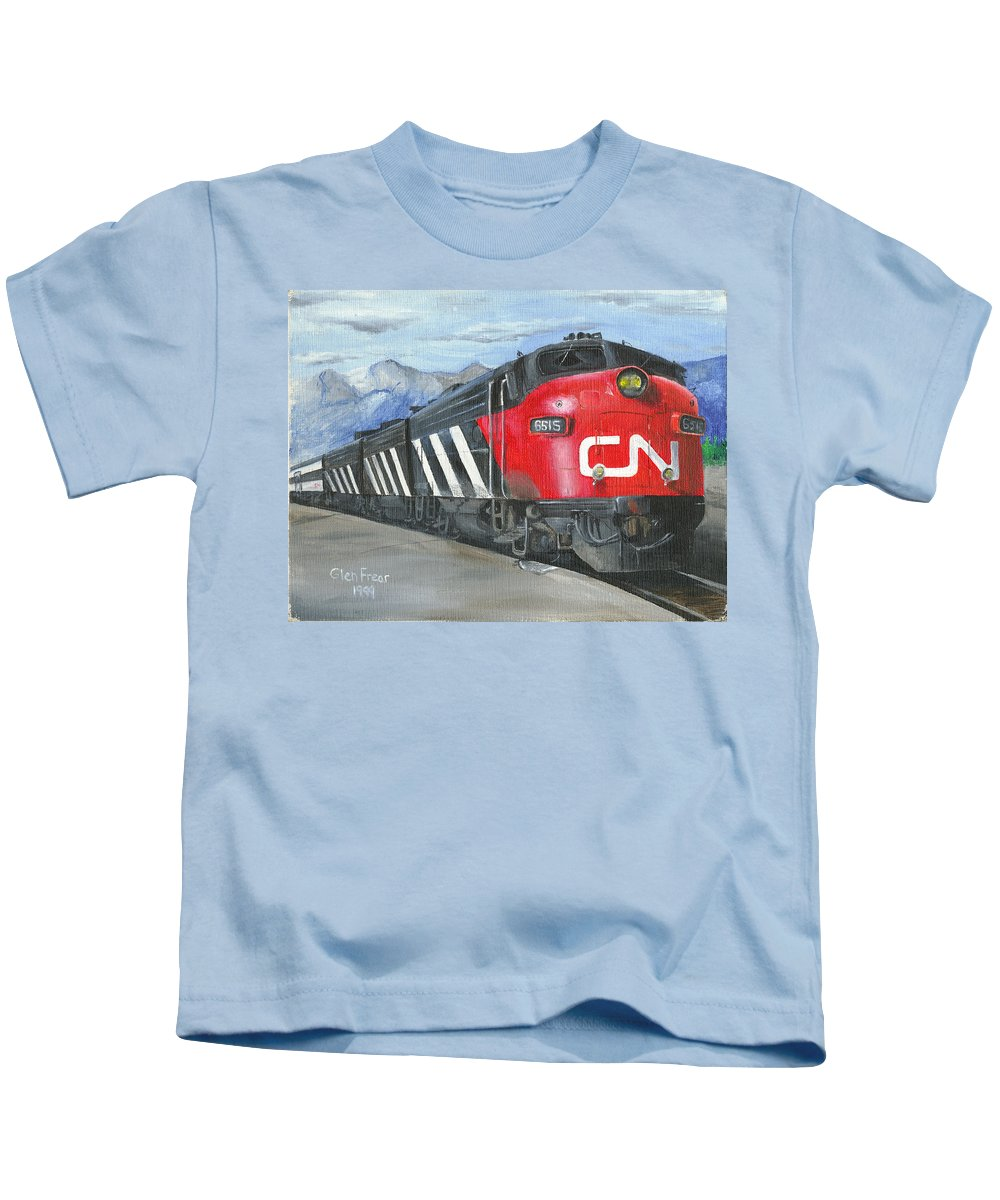 Canadian National Kids T-Shirt featuring the painting Supercontinental At Jasper by Glen Frear