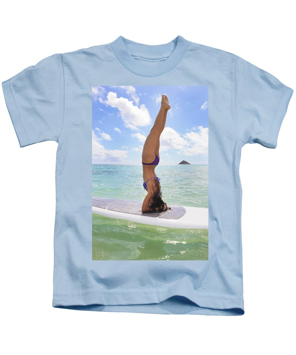 Active Kids T-Shirt featuring the photograph Surfboard Headstand by Tomas del Amo - Printscapes