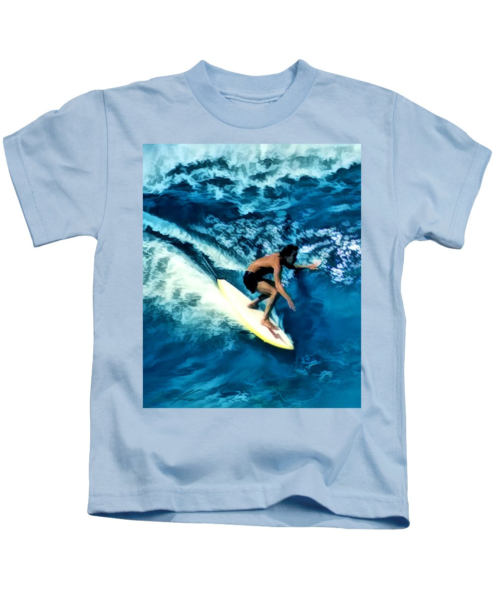 Surf Kids T-Shirt featuring the digital art Surfing Legends 12 by Keith Kos