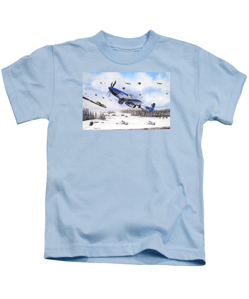 Aviation Kids T-Shirt featuring the painting Surprise At Asch by Marc Stewart