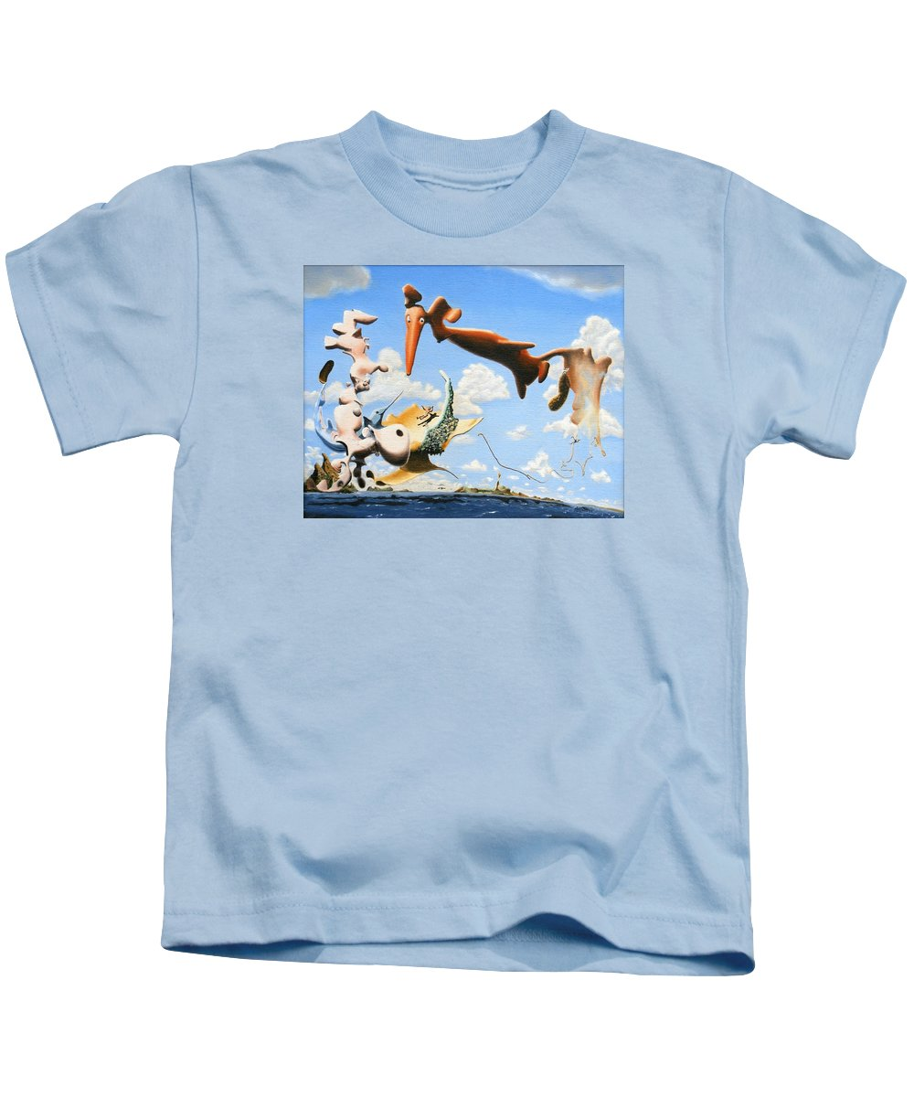 Surreal Kids T-Shirt featuring the painting Surreal Friends by Dave Martsolf