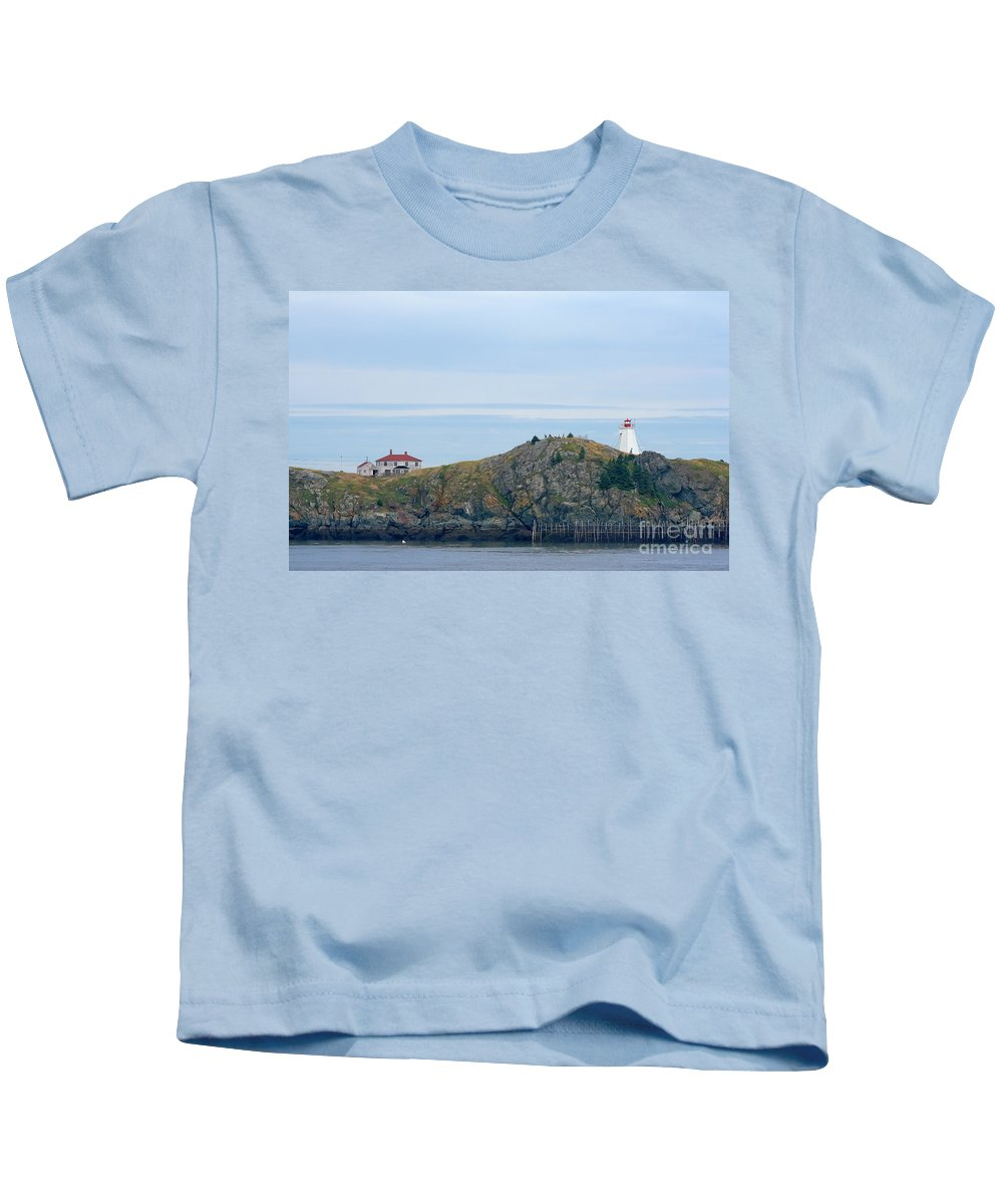 Lighthouse Kids T-Shirt featuring the photograph Swallowtail Lighthouse And Keeper by Thomas Marchessault