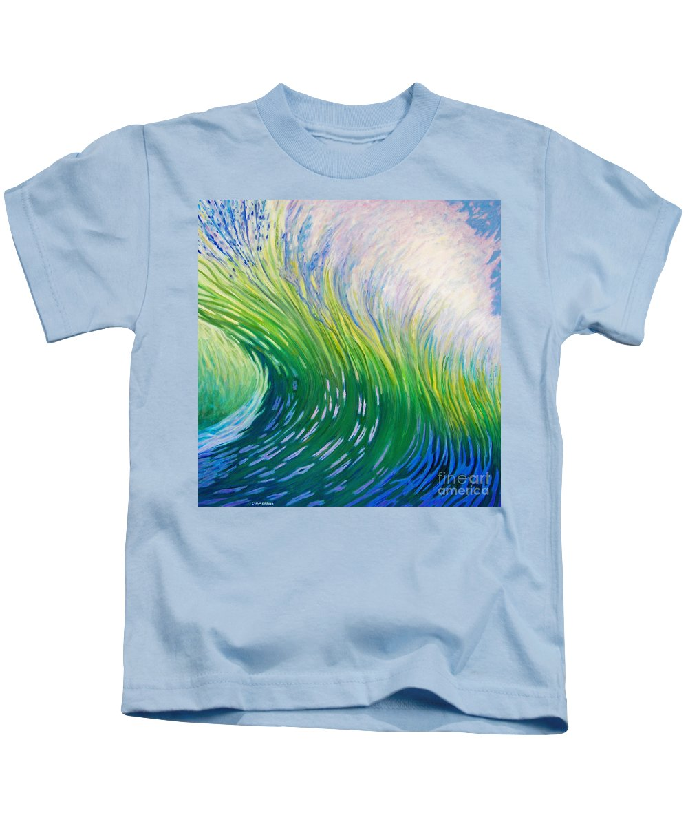 Ocean Kids T-Shirt featuring the painting Take That Ride by Brian Commerford