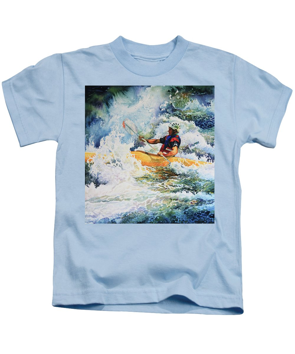Sports Art Kids T-Shirt featuring the painting Taming Of The Chute by Hanne Lore Koehler