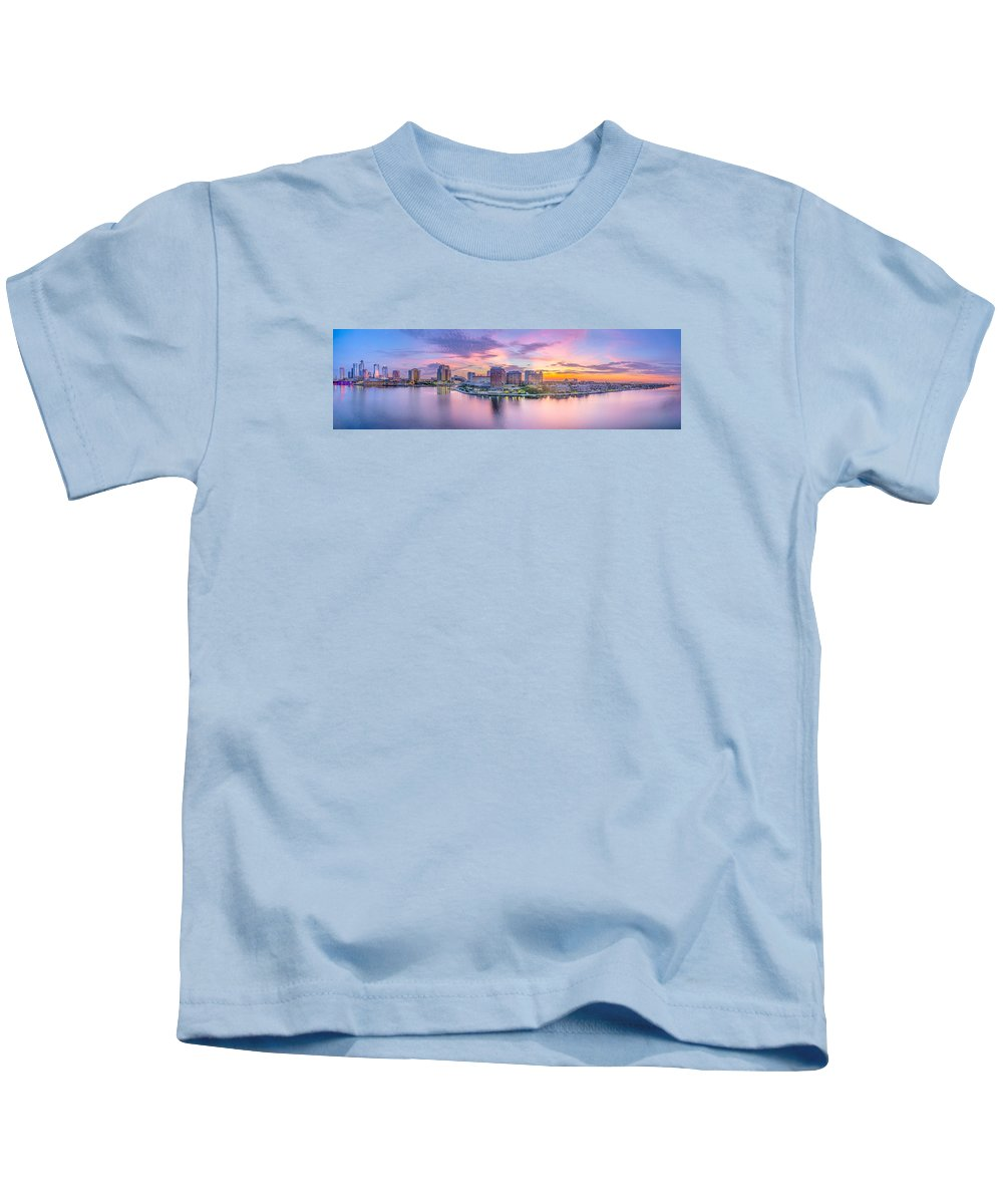 Harbour Island Kids T-Shirt featuring the photograph Tampa Bay Panorama by Lance Raab