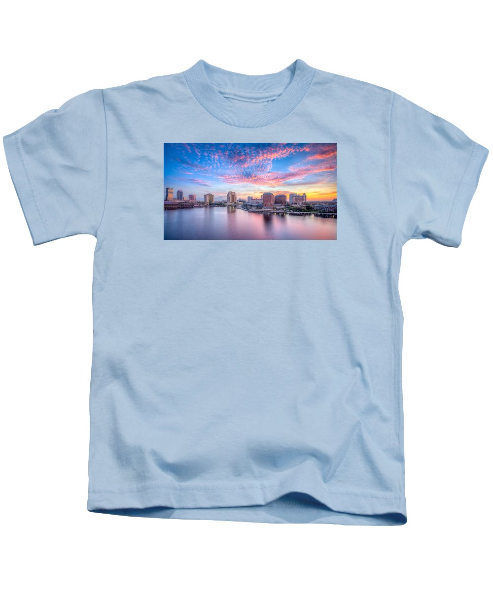 Harbour Island Kids T-Shirt featuring the photograph Tampa Bay Sunrise by Lance Raab
