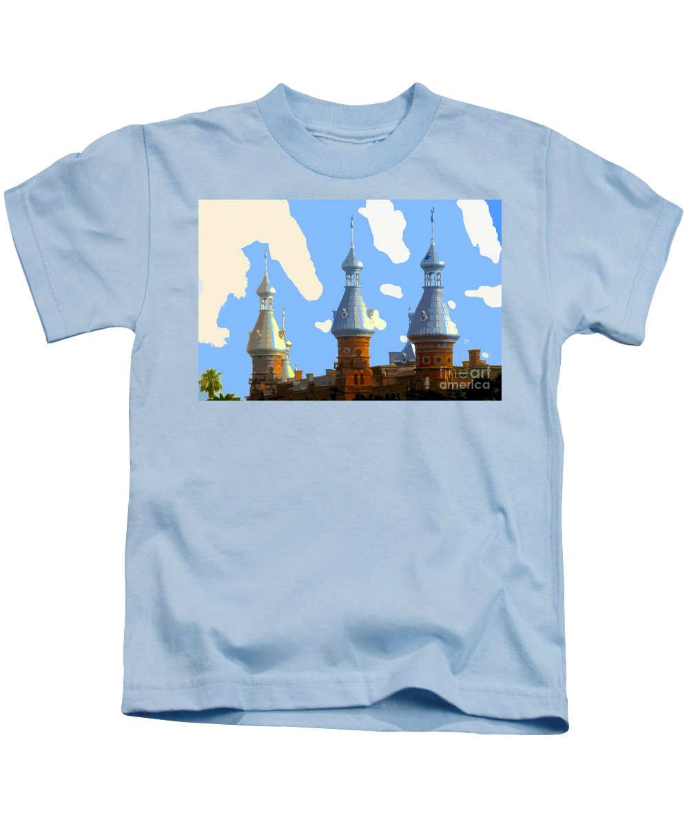 Tampa Florida Kids T-Shirt featuring the painting Tampa's Minarets by David Lee Thompson