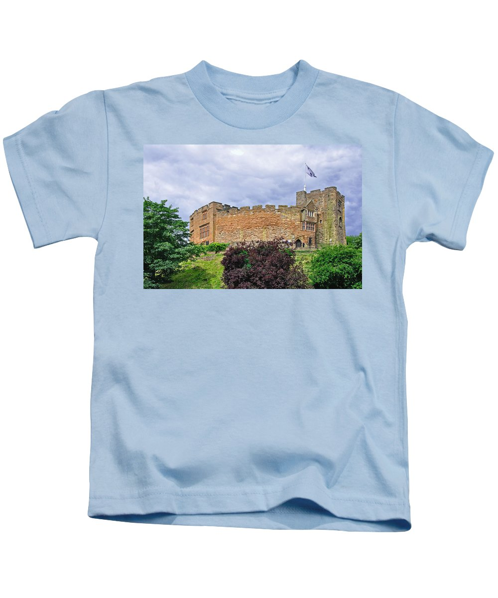 Blue-grey Kids T-Shirt featuring the photograph Tamworth Castle by Rod Johnson