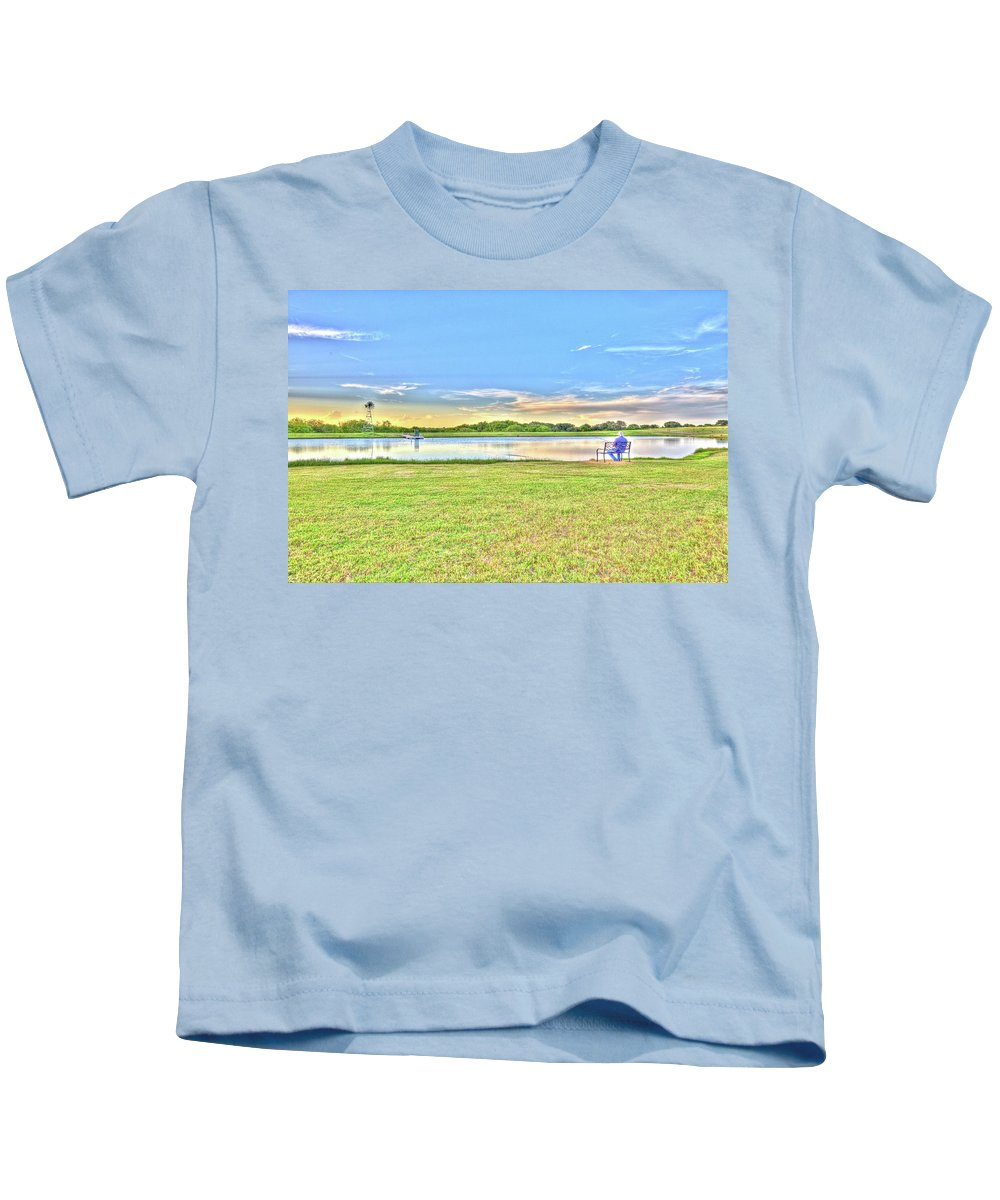 Landscape Kids T-Shirt featuring the photograph Tank Fishing - Karnes City, Tx by Greg Vajdos