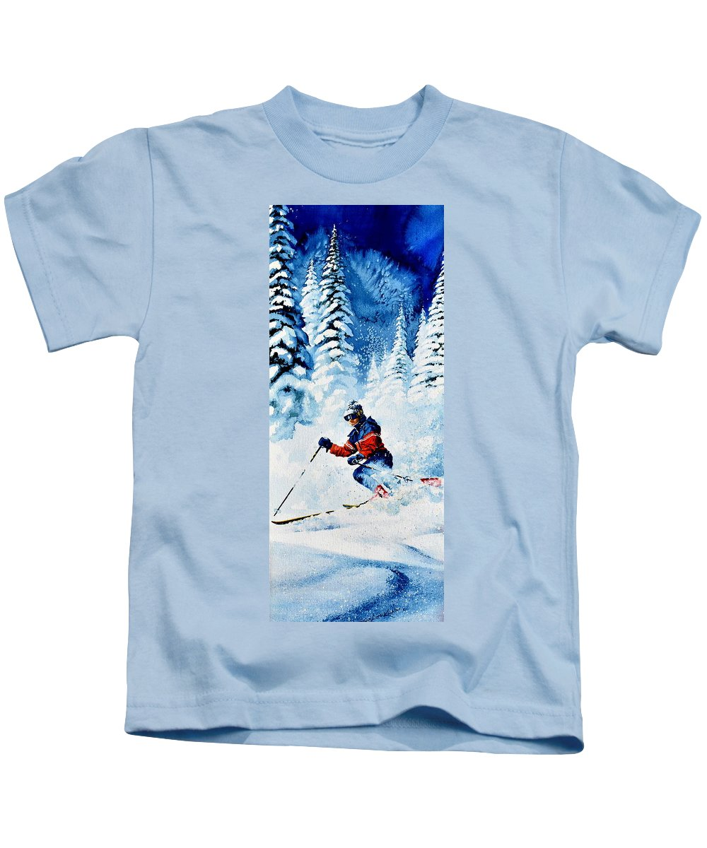 Skier Kids T-Shirt featuring the painting Telemark Trails by Hanne Lore Koehler
