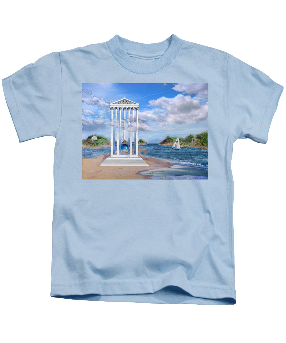 Landscape Kids T-Shirt featuring the painting Temple For No One by Steve Karol