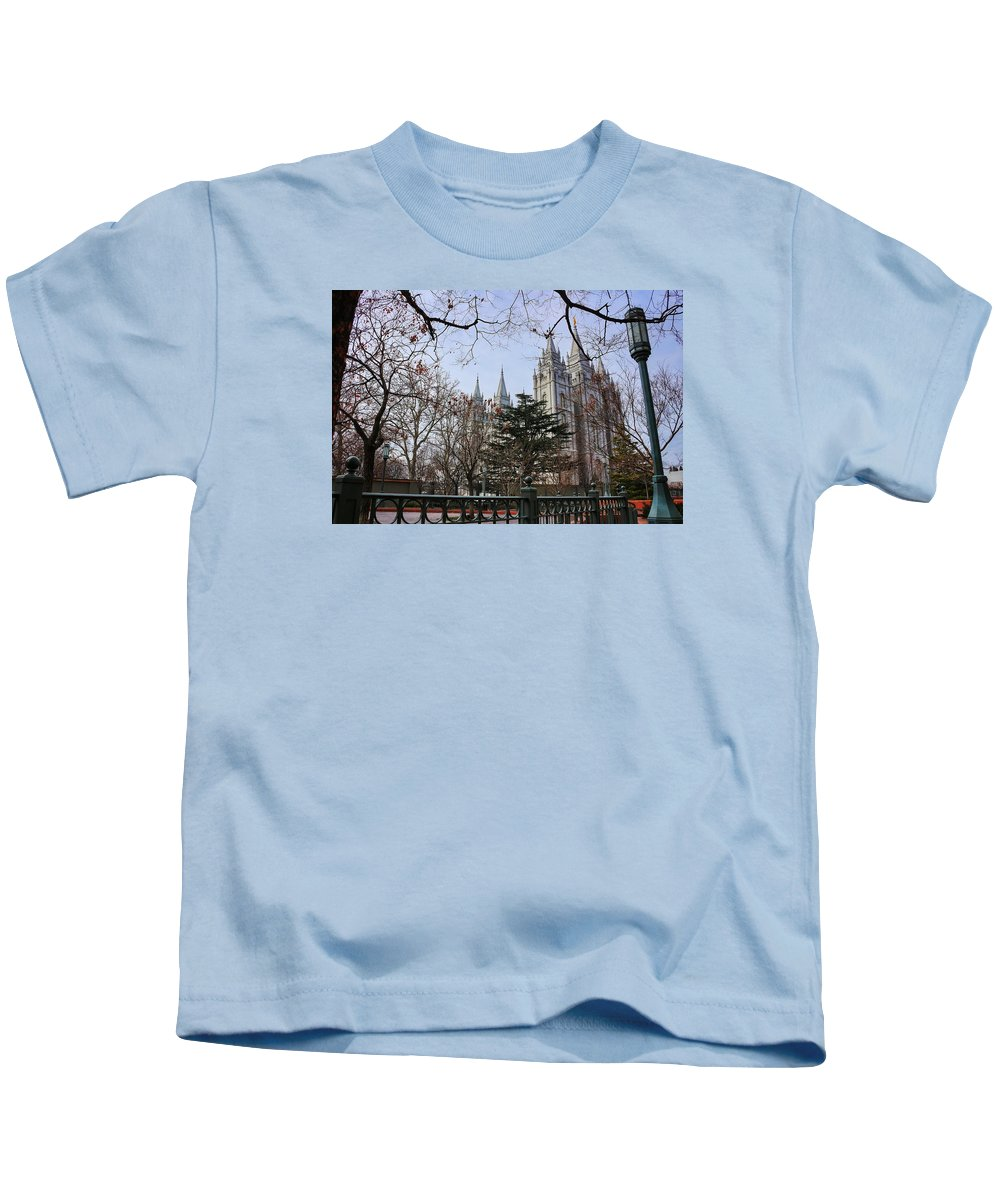 Mormon Kids T-Shirt featuring the photograph Temple View by Buck Buchanan