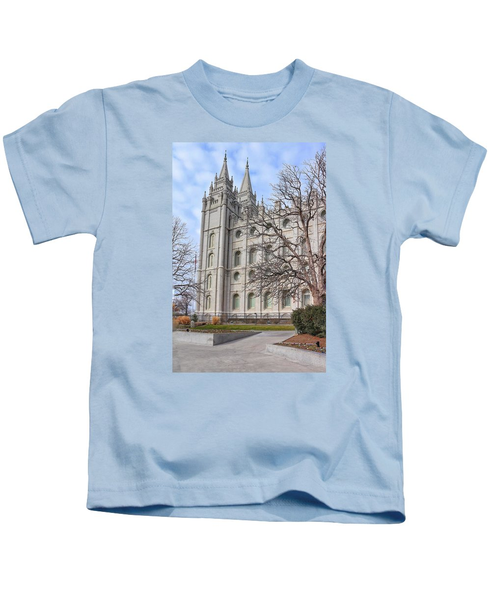 Mormon Kids T-Shirt featuring the photograph Temple Walk by Buck Buchanan