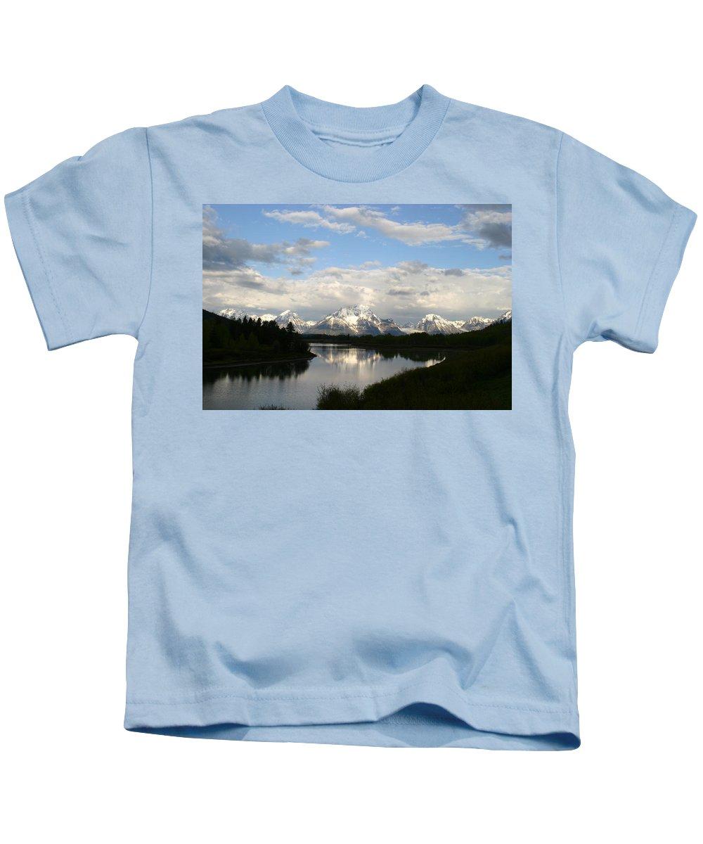 Grand Tetons Mountains Snow Capped National Park Nature Nature Snow Water Lake Sillouhette Skyline Kids T-Shirt featuring the photograph Tetons At Dawn by Shari Jardina