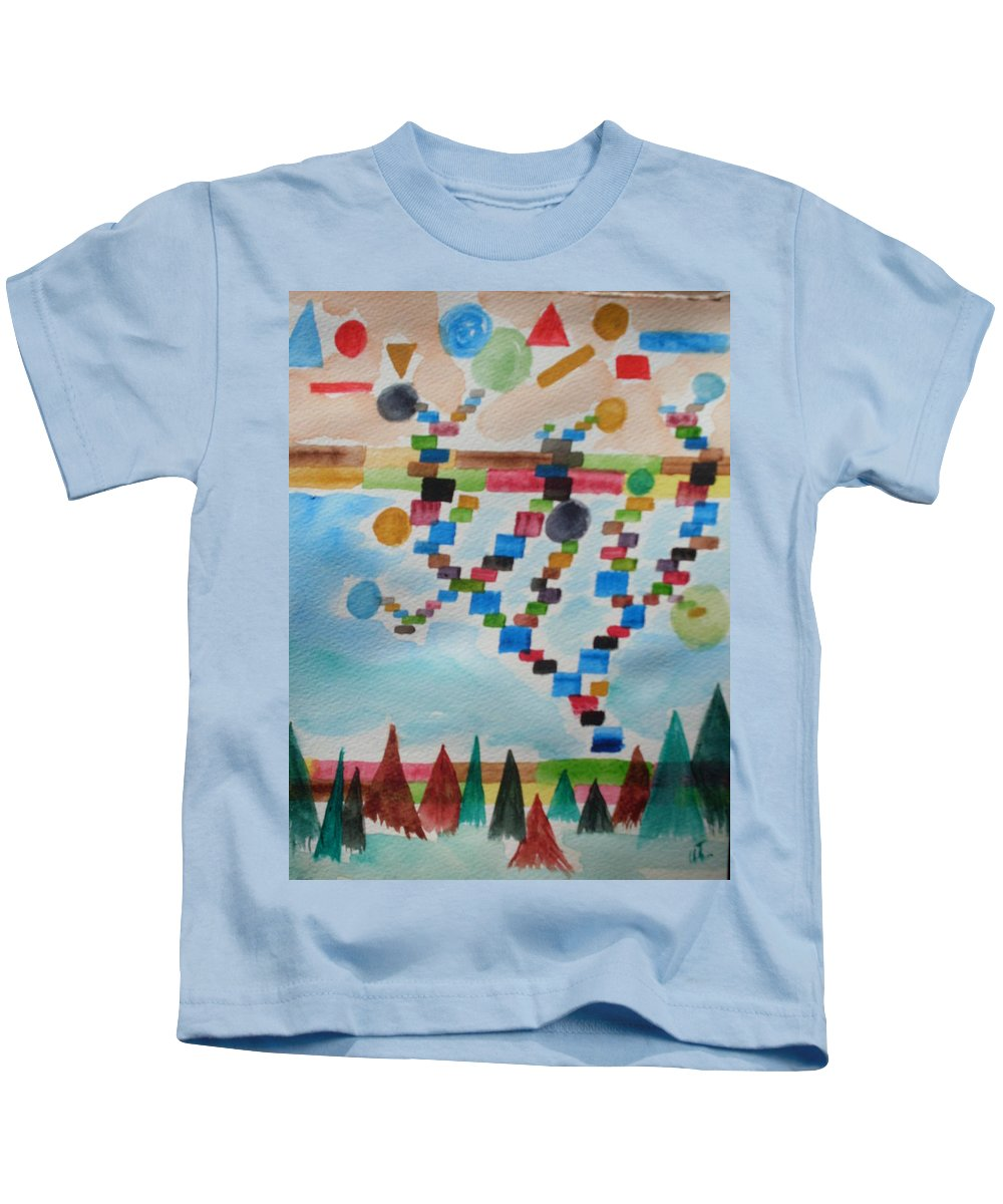 Abstract Kids T-Shirt featuring the painting Tetrus Meets Nature by Warren Thompson