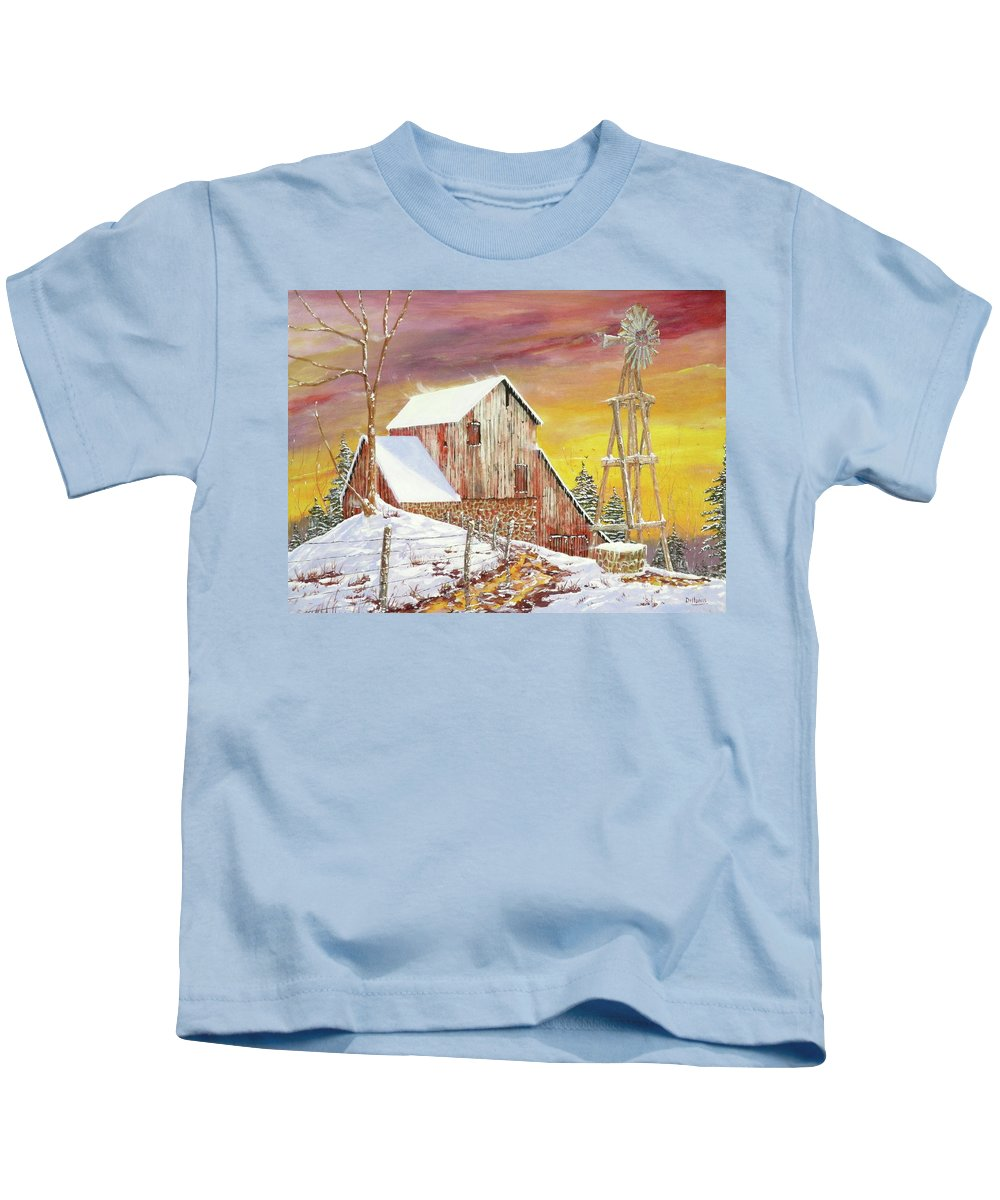 Texas Kids T-Shirt featuring the painting Texas Coldfront by Michael Dillon