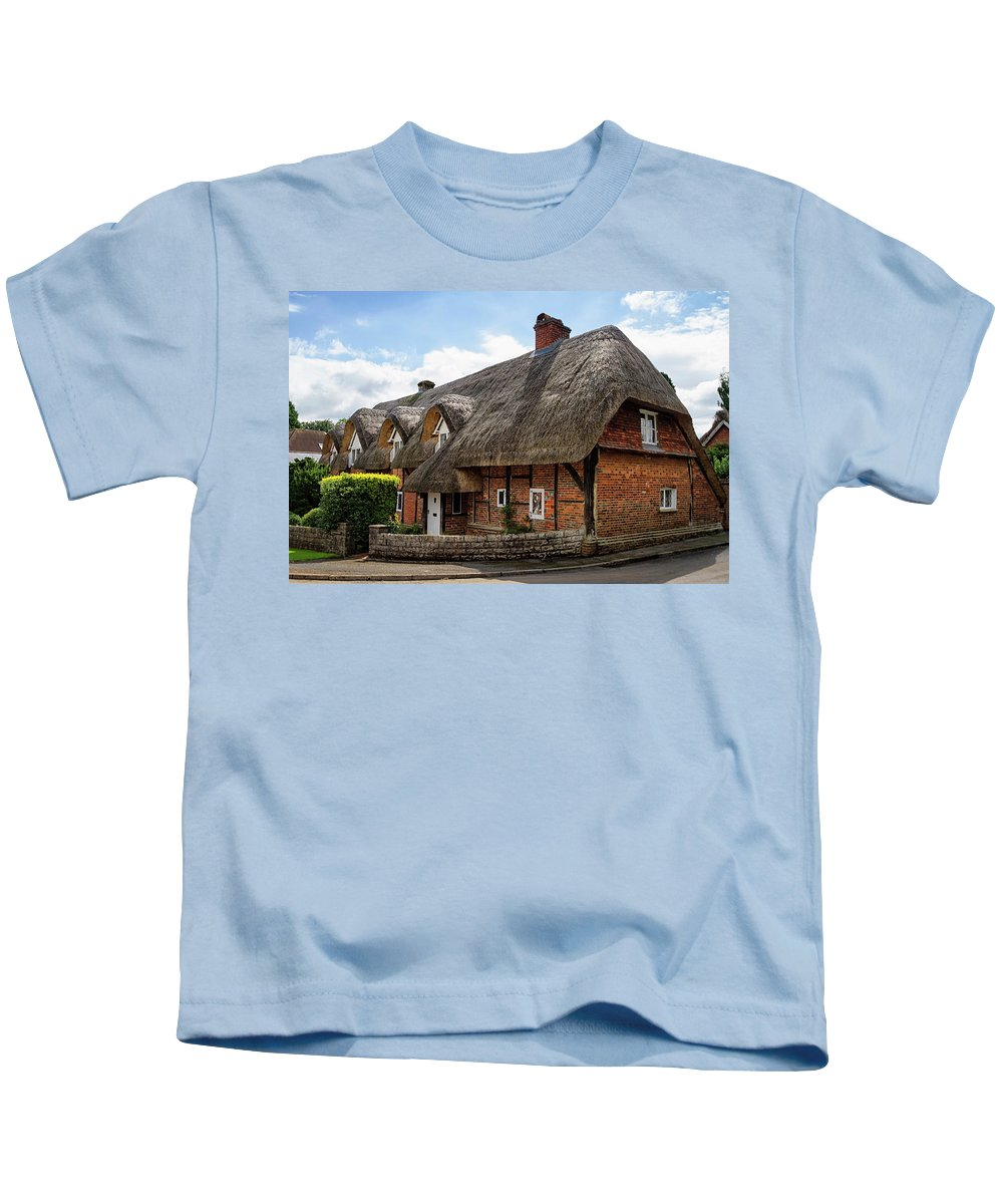 Cottage Kids T-Shirt featuring the photograph Thatched Cottages In Chawton by Shirley Mitchell
