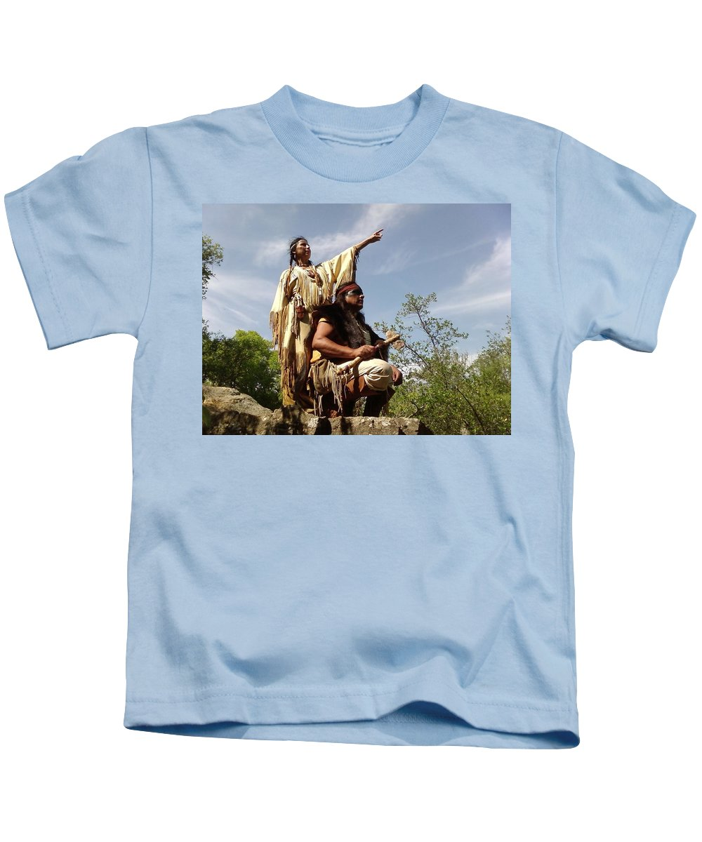 Indian Maiden Scout Indians Kids T-Shirt featuring the photograph Thats Where I Saw The White Man by Cindy New