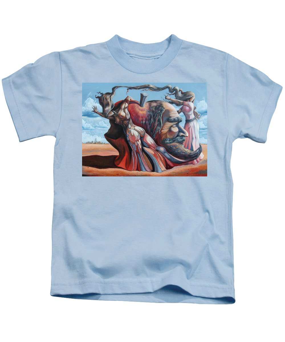 Surrealism Kids T-Shirt featuring the painting The Adam-eve Delusion by Darwin Leon