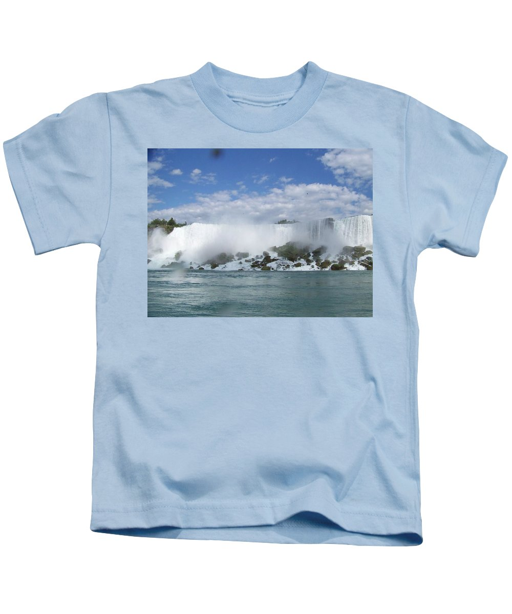Waterfall Kids T-Shirt featuring the photograph The American Falls At Niagra by Laurie Paci