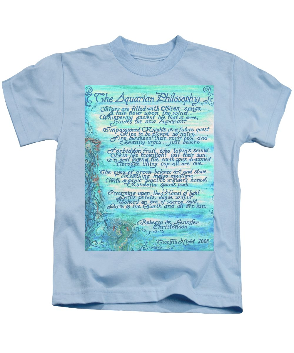 Painted Poetry Kids T-Shirt featuring the painting The Aquarian Philosophy by Jennifer Christenson