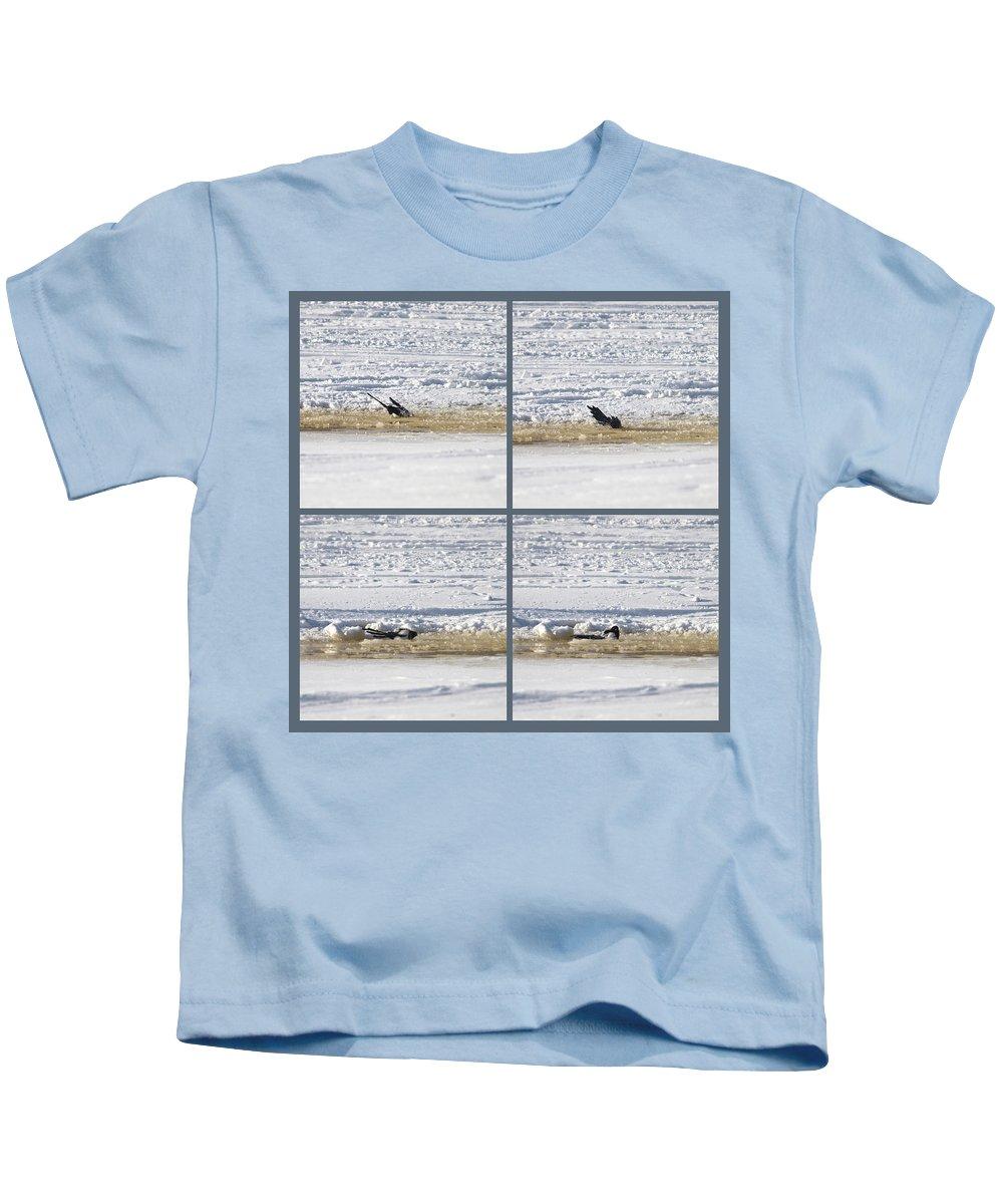 Lehtokukka Kids T-Shirt featuring the photograph The Bath Of A Magpie by Jouko Lehto