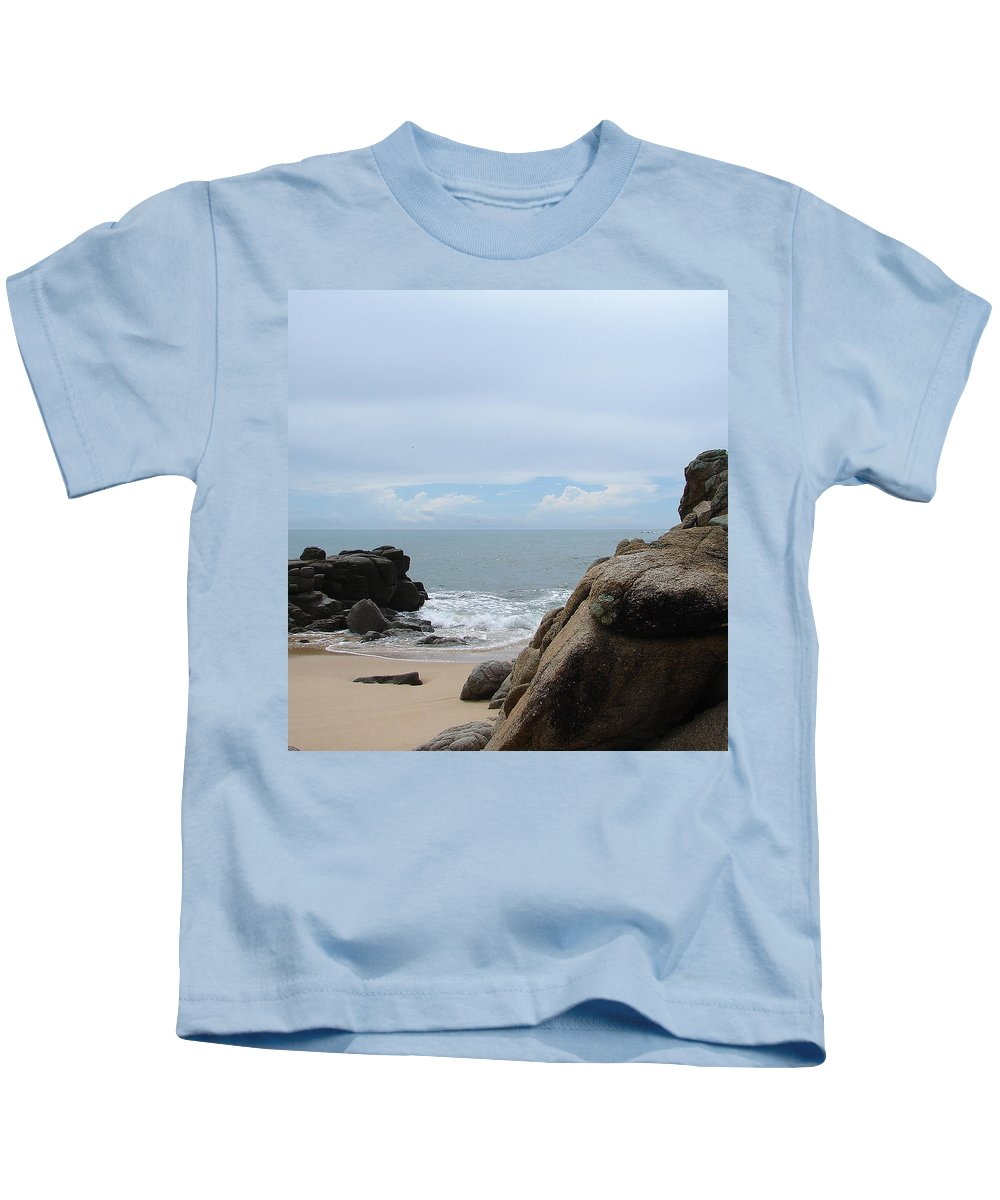 Sand Ocean Clouds Blue Sky Rocks Kids T-Shirt featuring the photograph The Beach 2 by Luciana Seymour