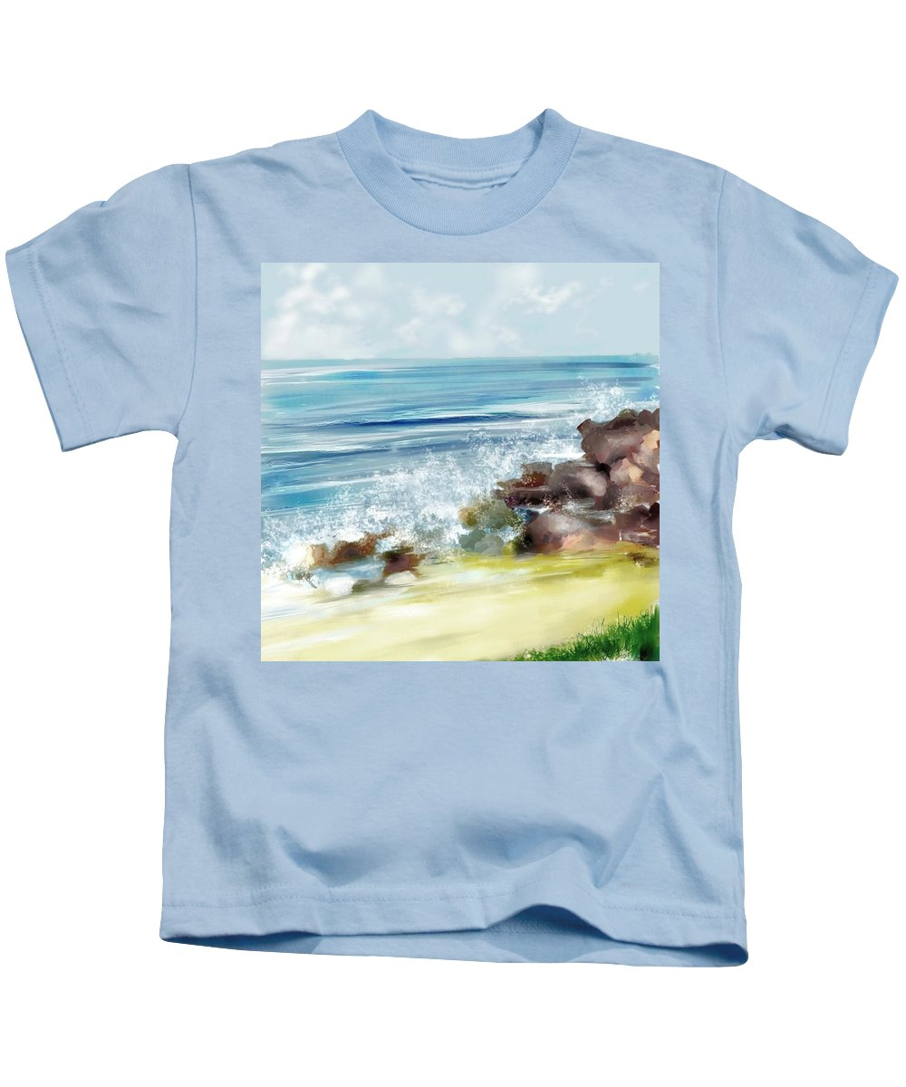 Beach Ocean Water Summer Waves Splash Kids T-Shirt featuring the digital art The Beach by Veronica Jackson