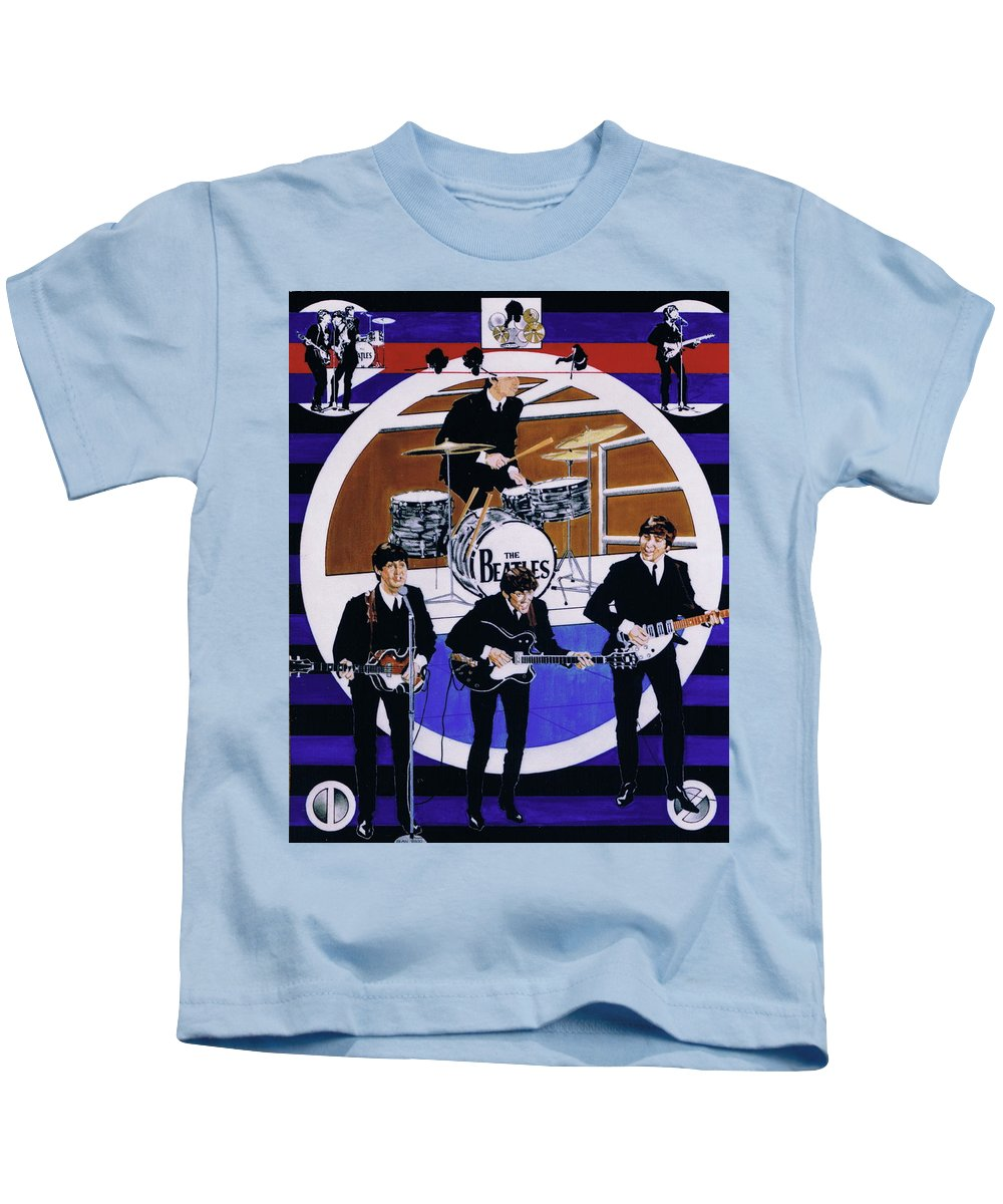 1960s Kids T-Shirt featuring the drawing The Beatles - Live On The Ed Sullivan Show by Sean Connolly