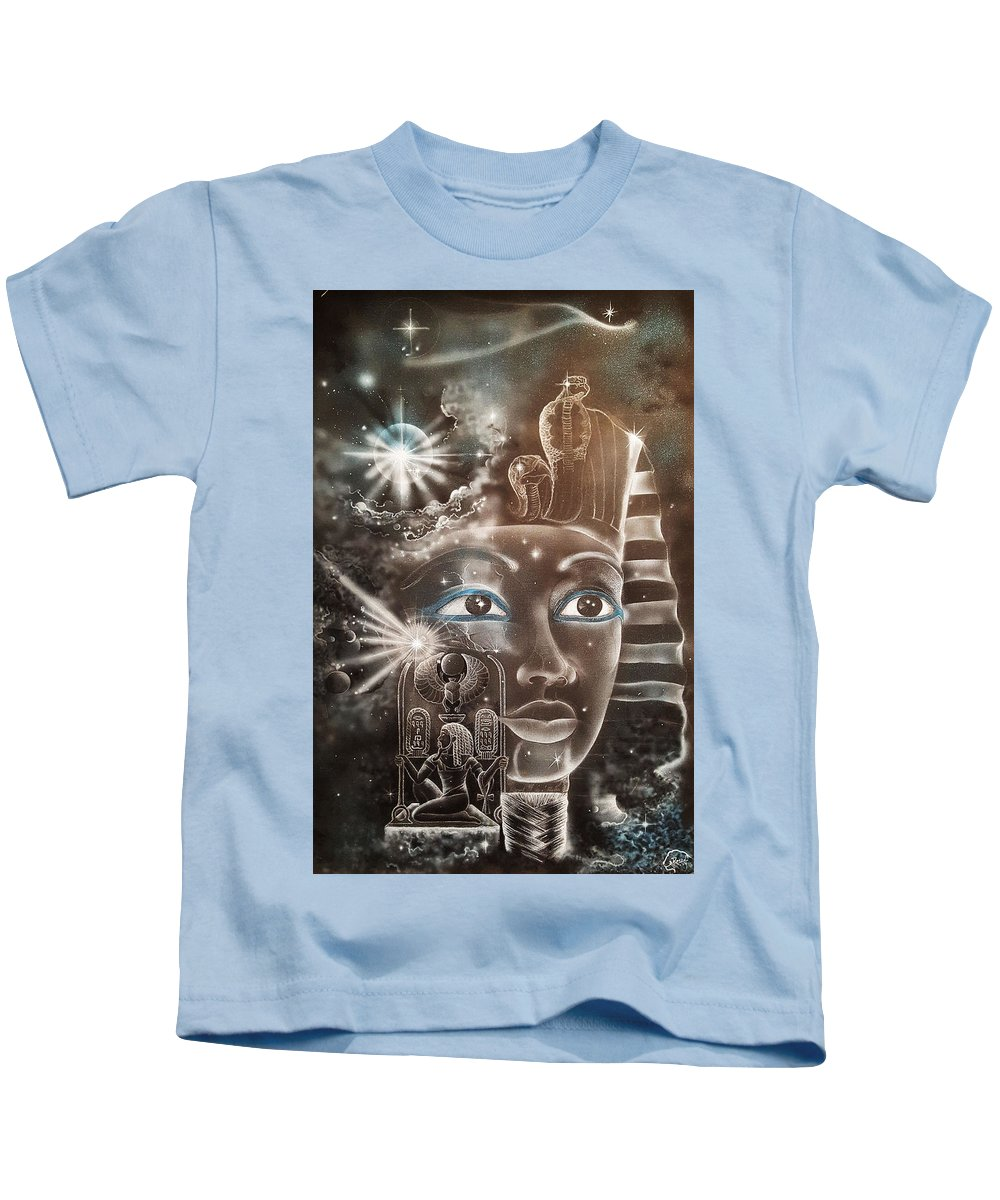 Kids T-Shirt featuring the painting The Beginning by Reshef Shabazz