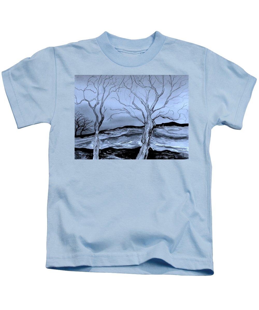 Landscape Kids T-Shirt featuring the painting The Bleak Terrain by Brenda Owen