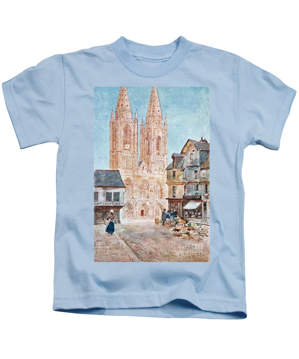 Herbert Menzies Marshall - The Cathedral Front Kids T-Shirt featuring the painting The Cathedral Front by MotionAge Designs