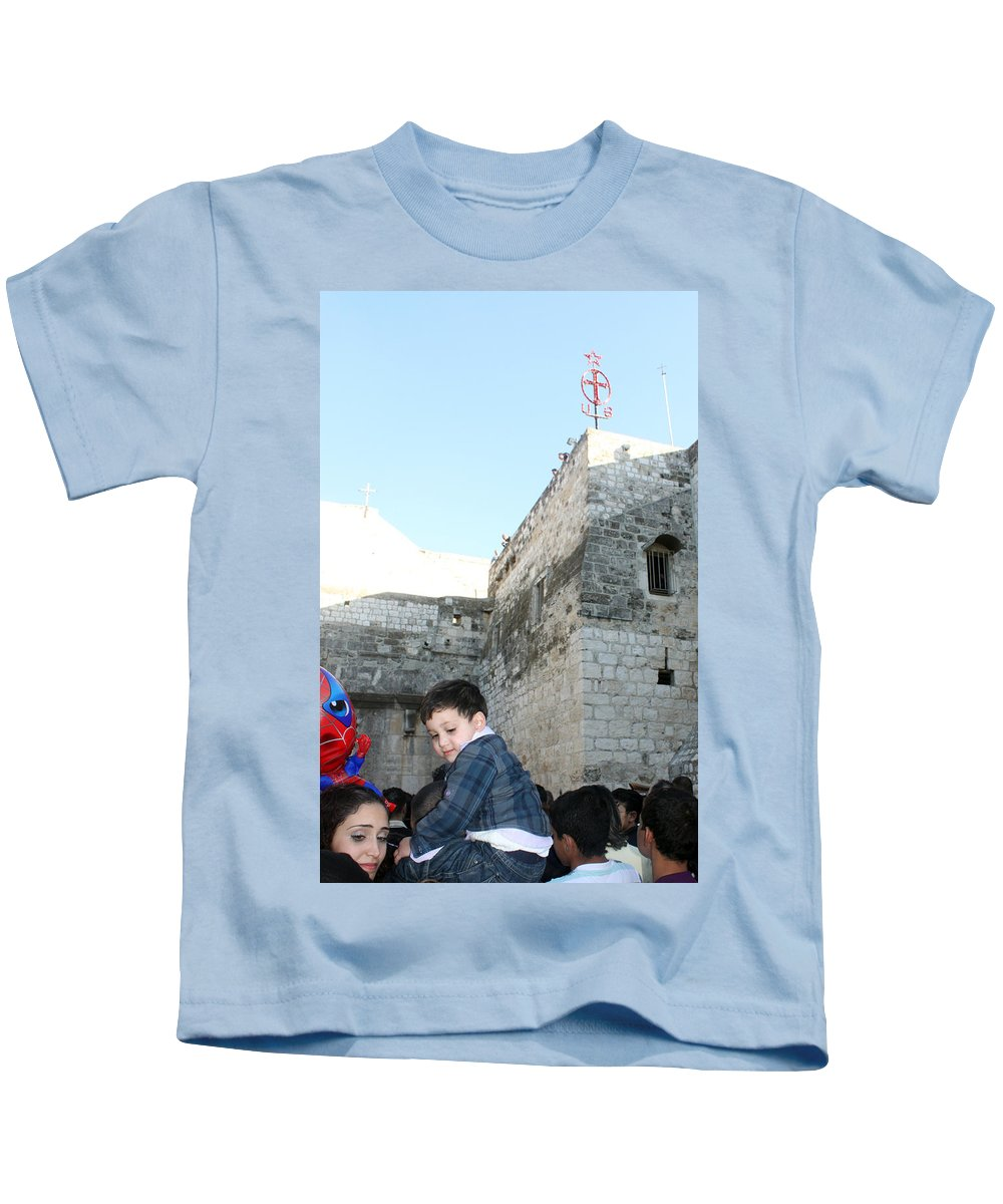 Child Kids T-Shirt featuring the photograph The Child Of Bethlehem 2010 by Munir Alawi