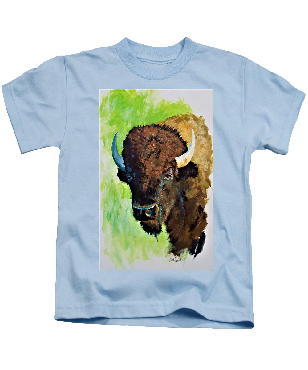 Painting Of Bison Kids T-Shirt featuring the painting The Comeback Kid by Michael Dillon