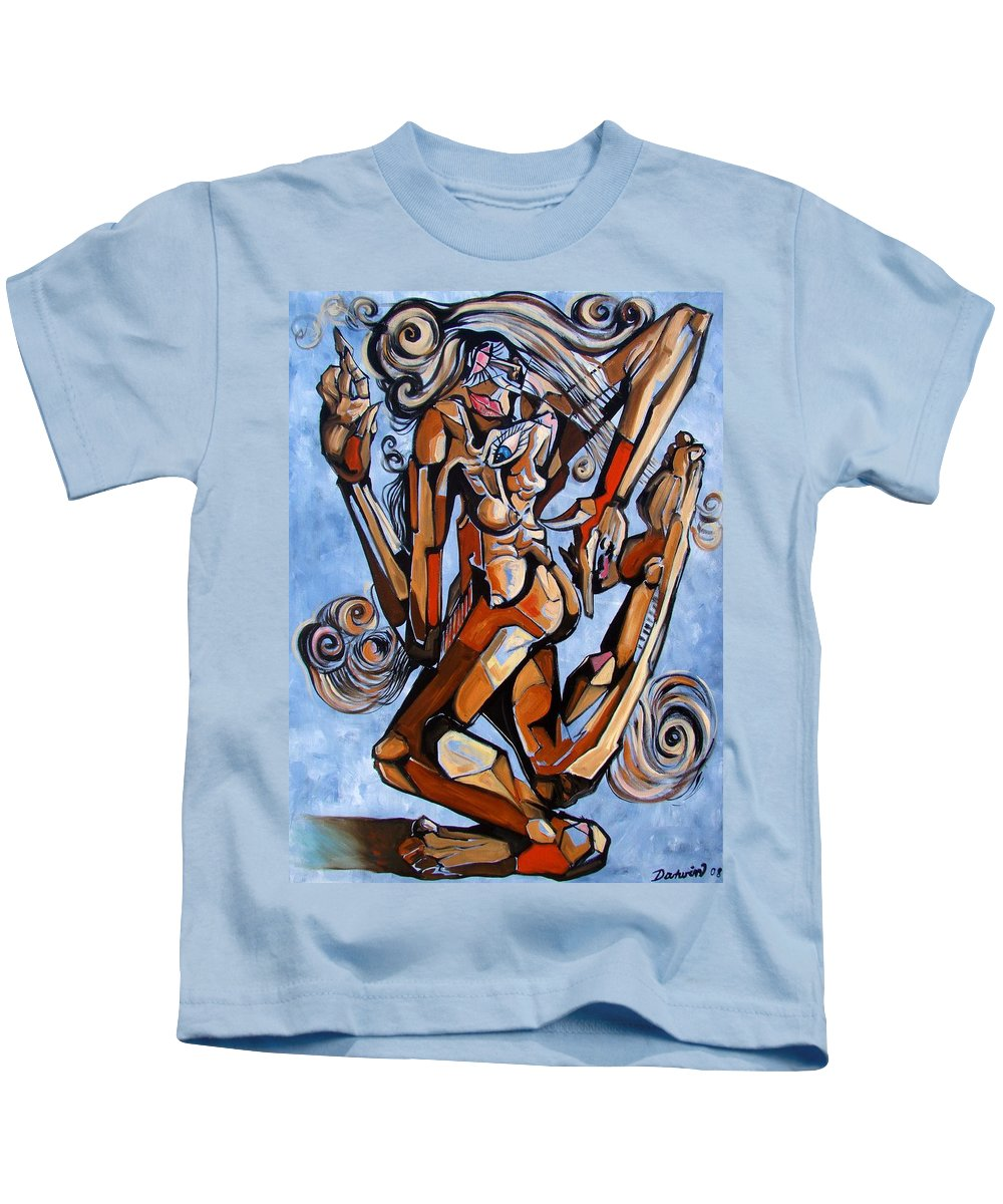 Surrealism Kids T-Shirt featuring the painting The Dance Of Ecstacy by Darwin Leon