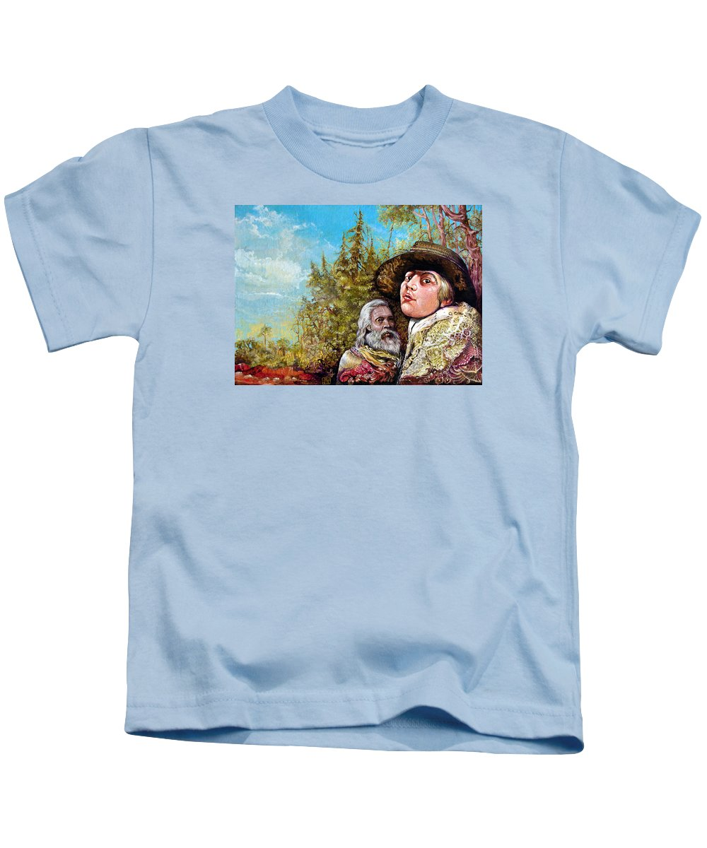 Surrealism Kids T-Shirt featuring the painting The Dauphin And Captain Nemo Discovering Bogomils Island by Otto Rapp