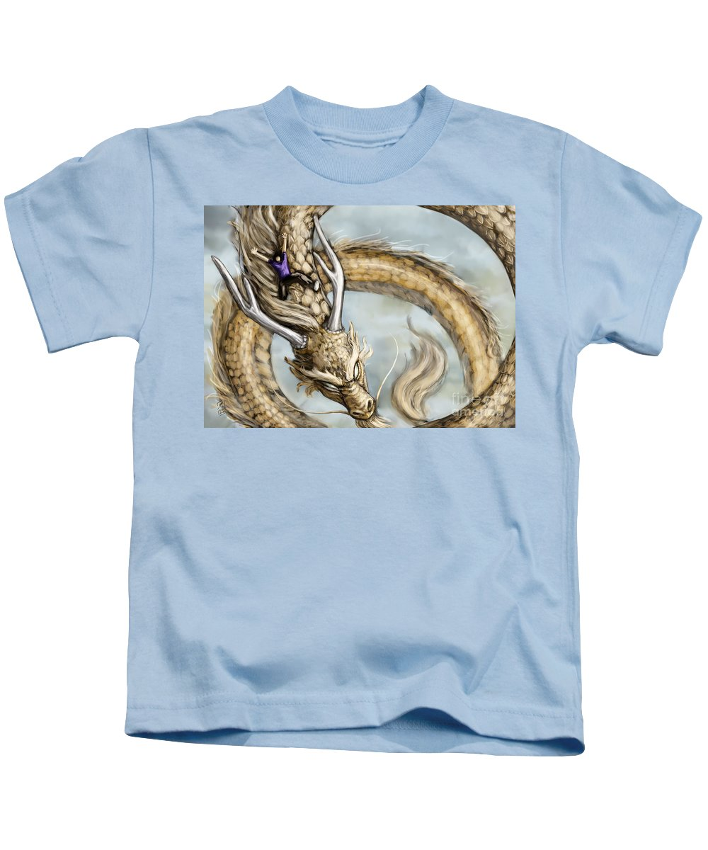 Dragon Kids T-Shirt featuring the digital art The Day I Could Fly by Brandy Woods