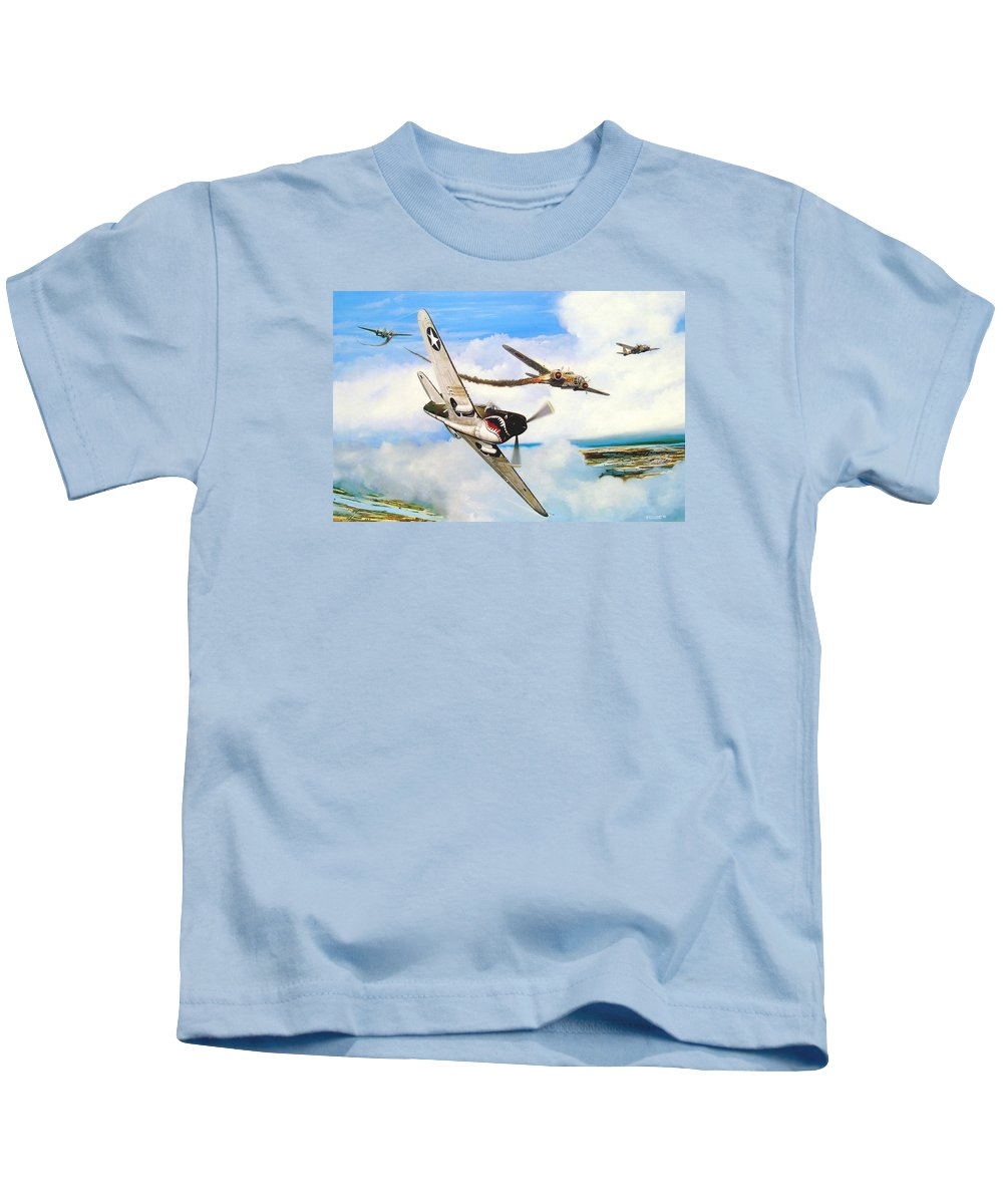 Military Kids T-Shirt featuring the painting The Day I Owned the Sky by Marc Stewart