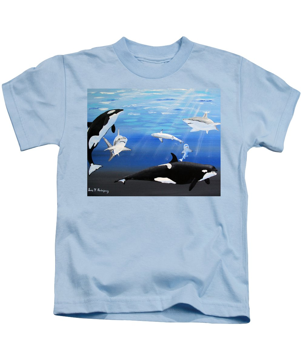 Killer Whales Kids T-Shirt featuring the painting The Encounter by Luis F Rodriguez