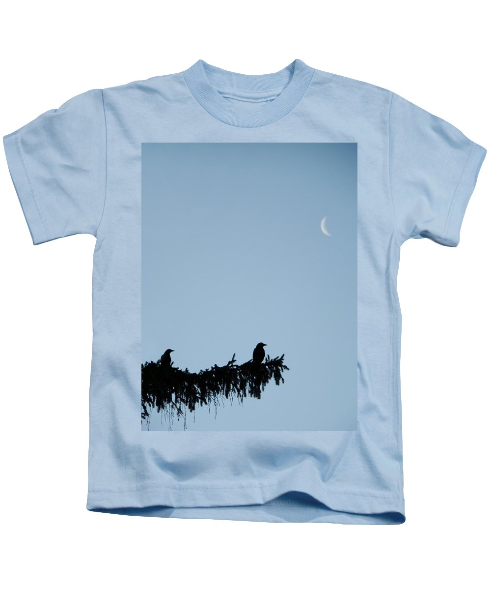 Moon Kids T-Shirt featuring the photograph The Evergreen Twins And The Crescent Moon by Gothicrow Images