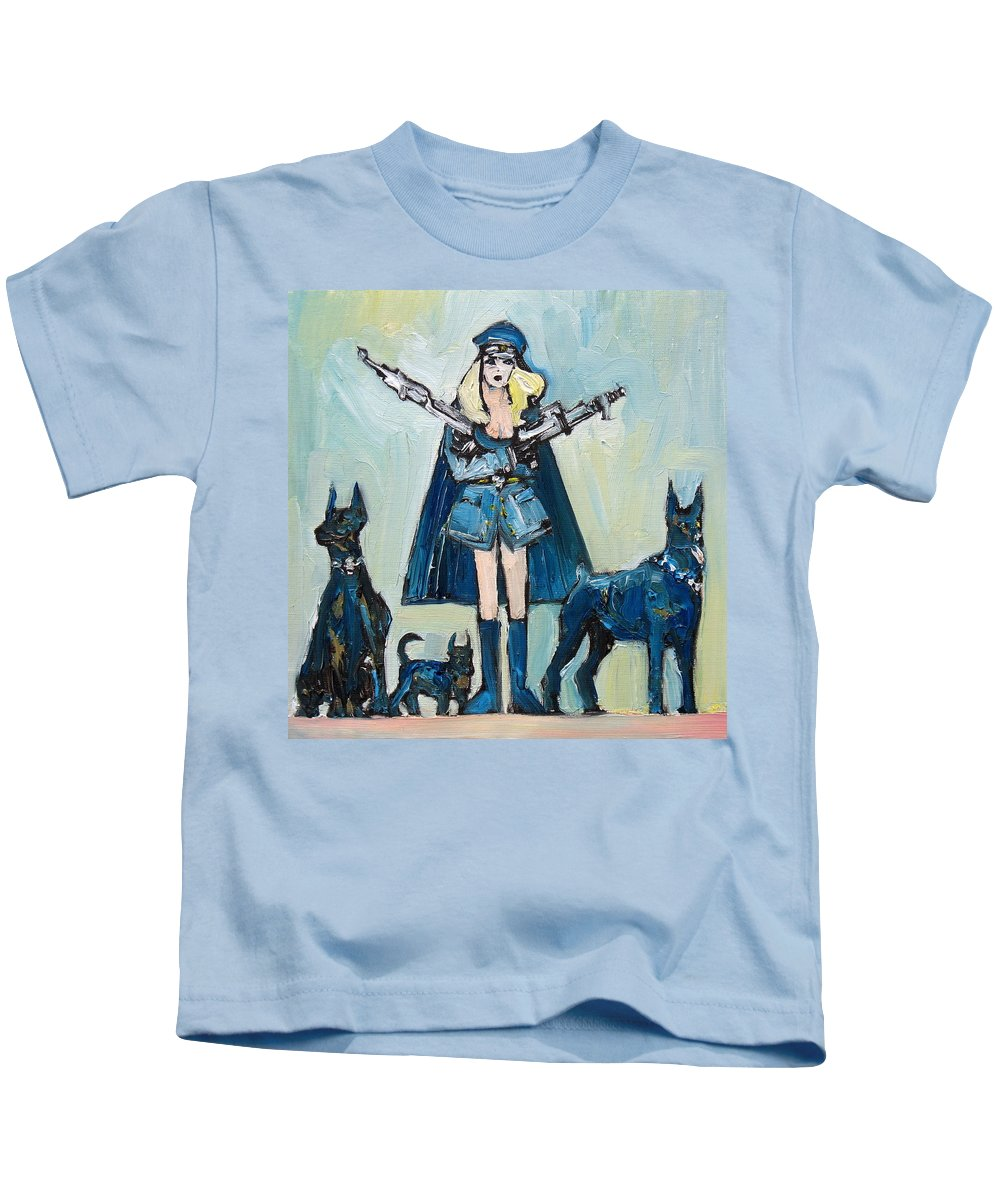 Girl Kids T-Shirt featuring the painting The Family That Plays Together by Fabrizio Cassetta