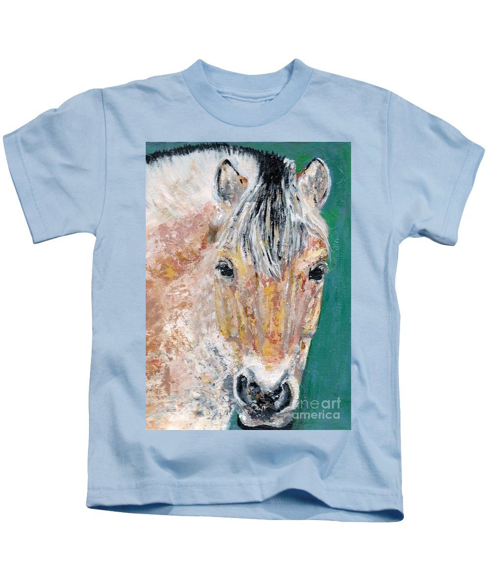 Fijord Horse Kids T-Shirt featuring the painting The Fijord by Frances Marino