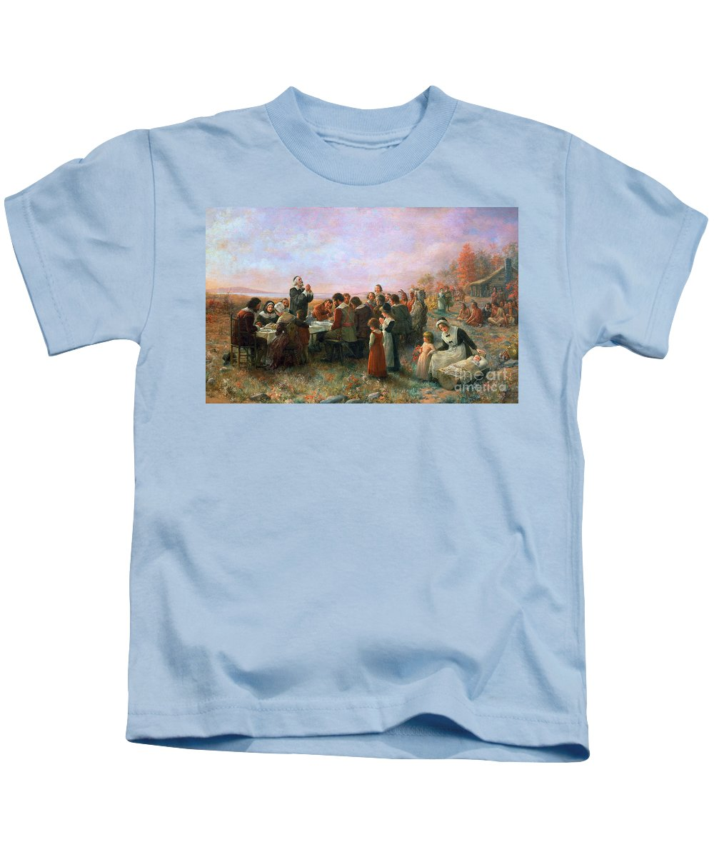 1621 Kids T-Shirt featuring the photograph The First Thanksgiving by Granger
