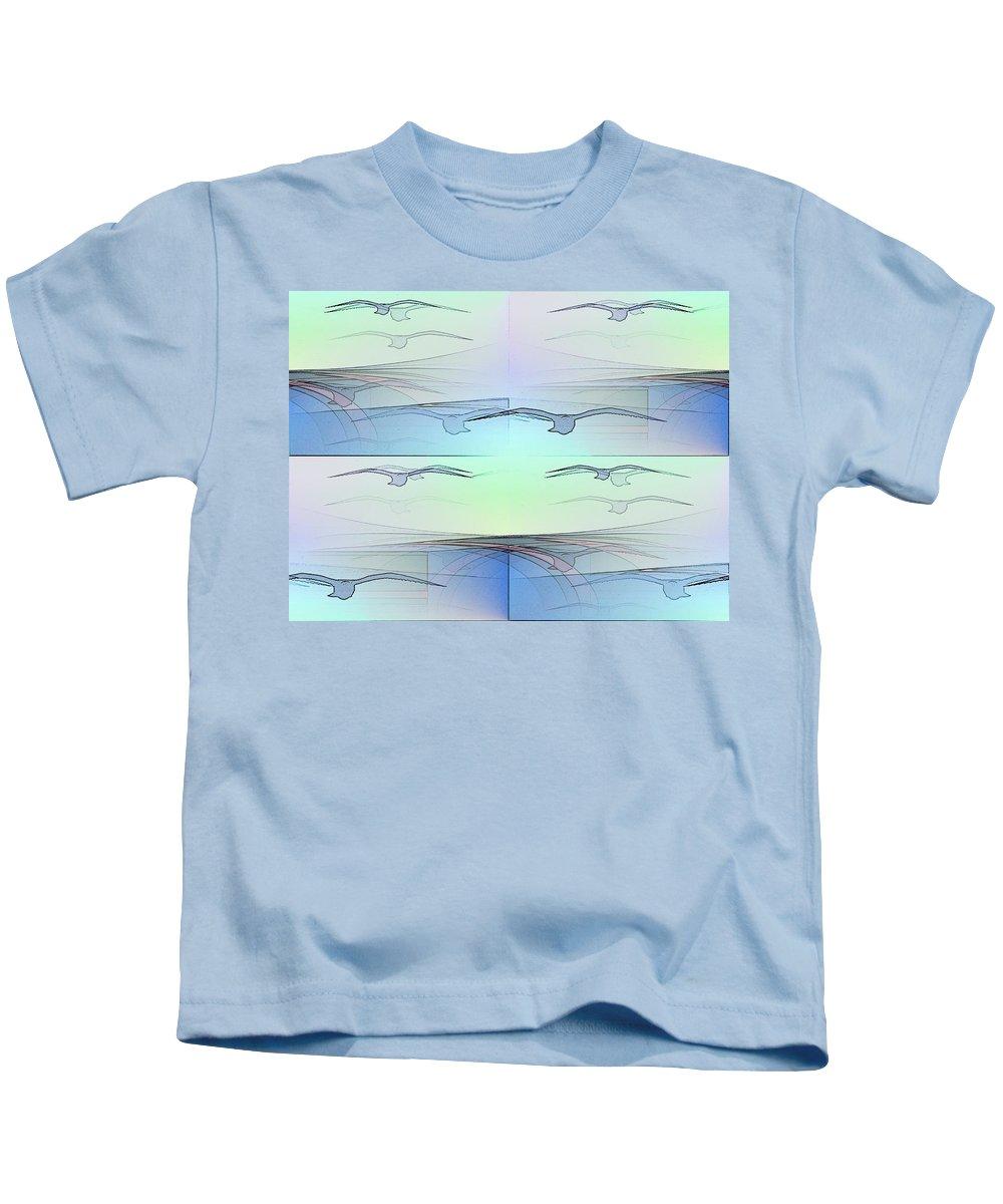 Birds Kids T-Shirt featuring the digital art The Flock by Tim Allen