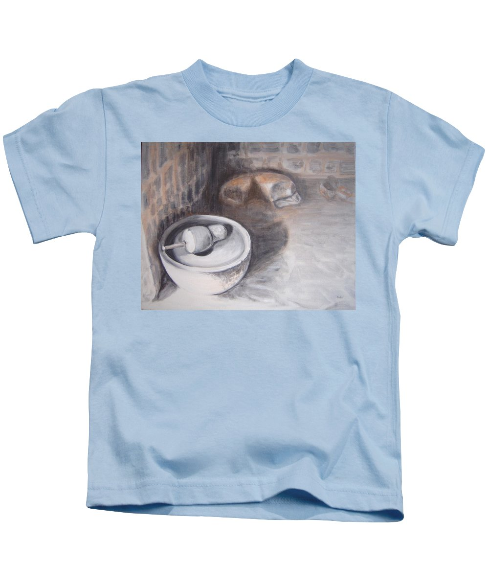 Grinding Kids T-Shirt featuring the painting The Grinding Stone by Usha Shantharam