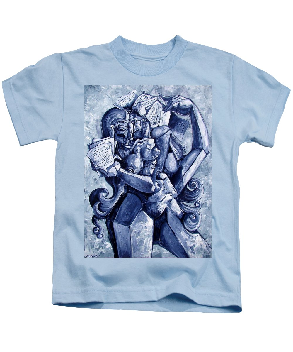 Surrealism Kids T-Shirt featuring the painting The Letters by Darwin Leon
